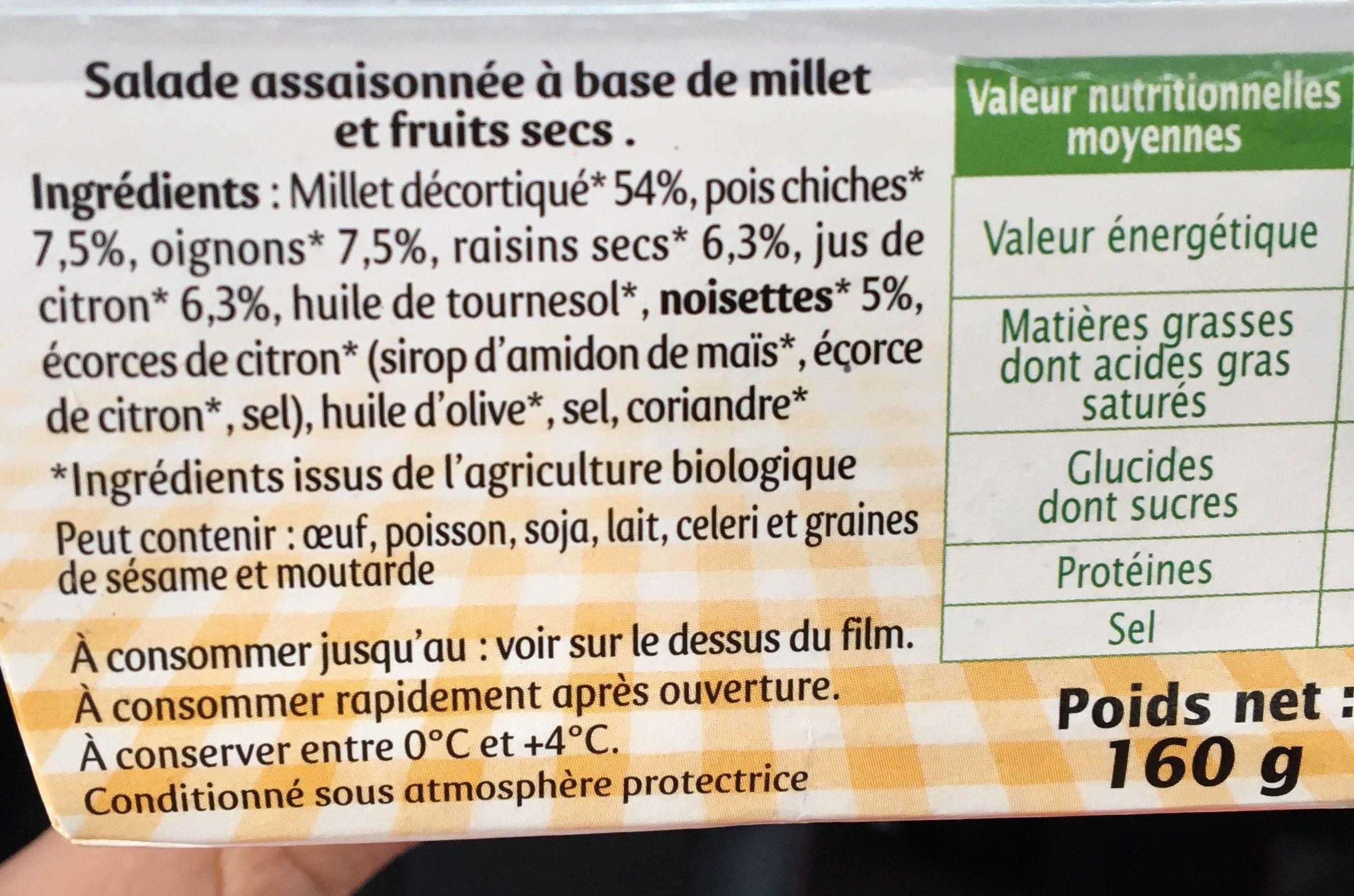 Taboulé au millet et fruits secs sans gluten - Ingrédients - fr