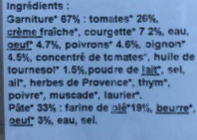 Tarte Provencale - Ingrédients