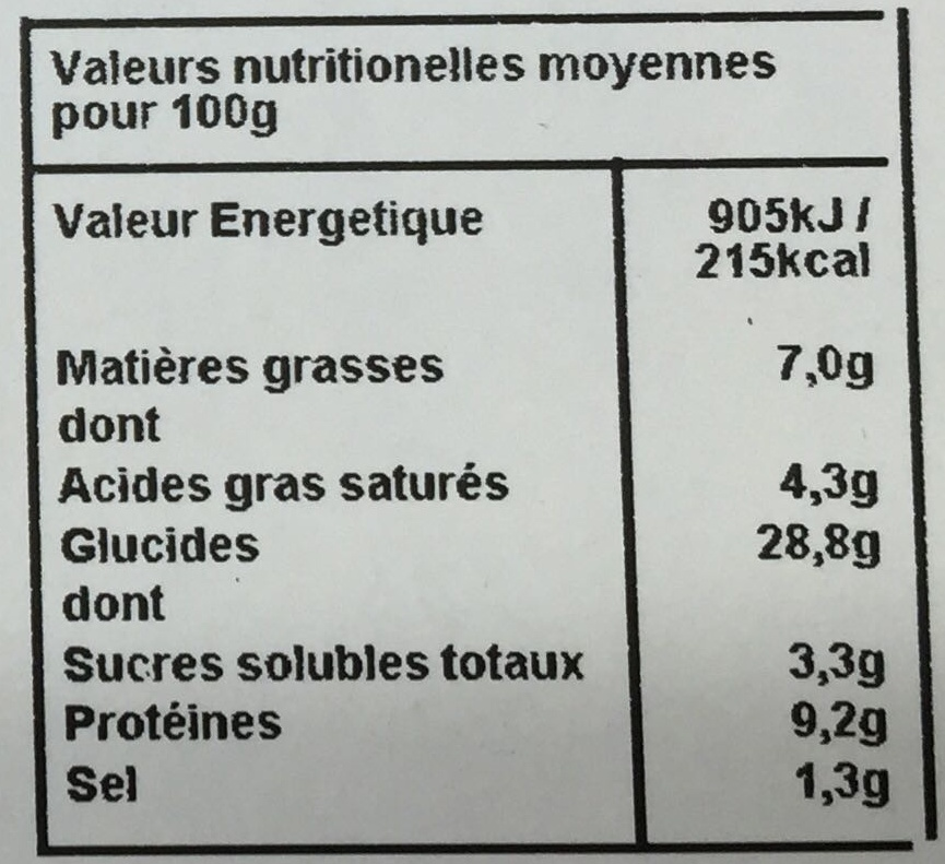 Pizza fromage jambon - Informations nutritionnelles - fr