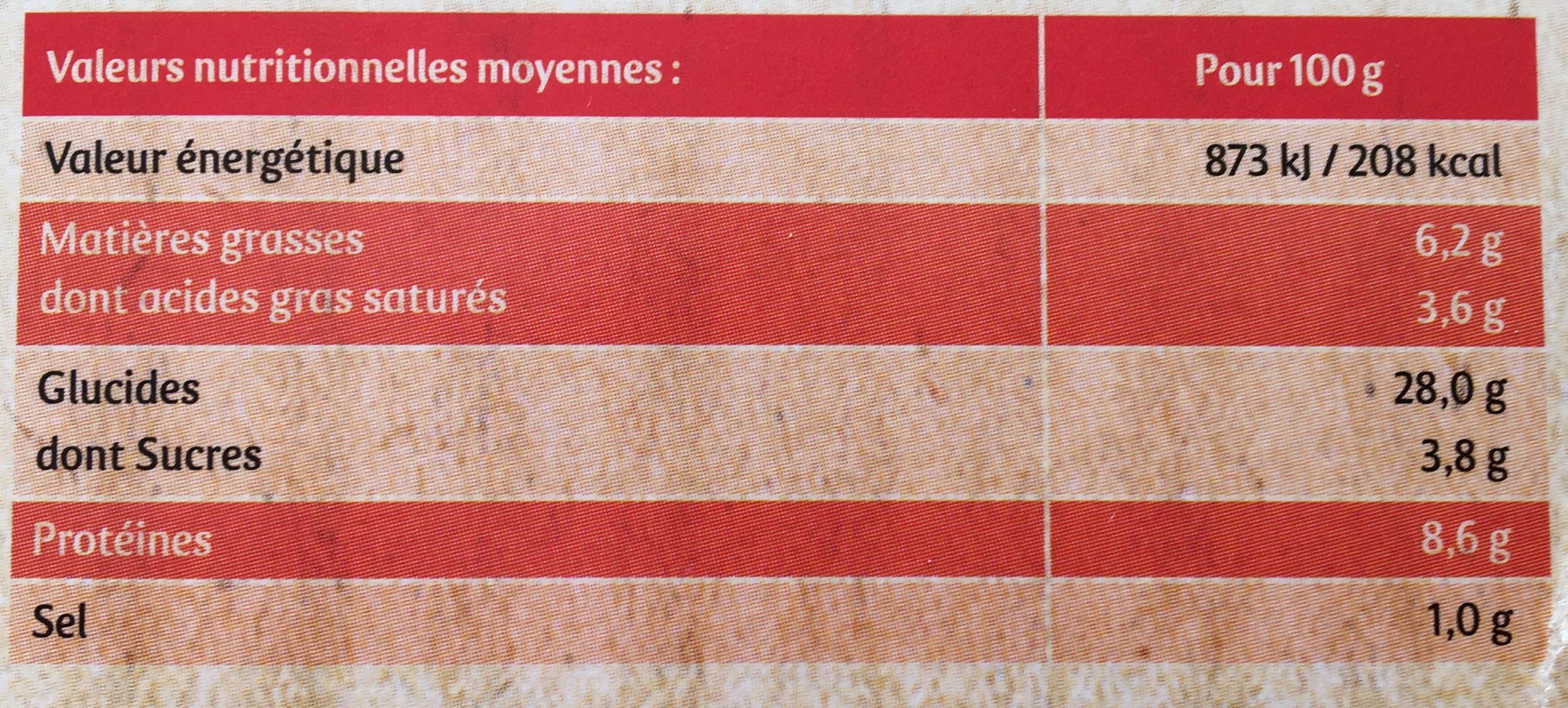 Pizza Bio 4 Saisons - Nutrition facts