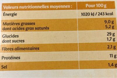 Pizza bio 3 fromages - Informations nutritionnelles - fr