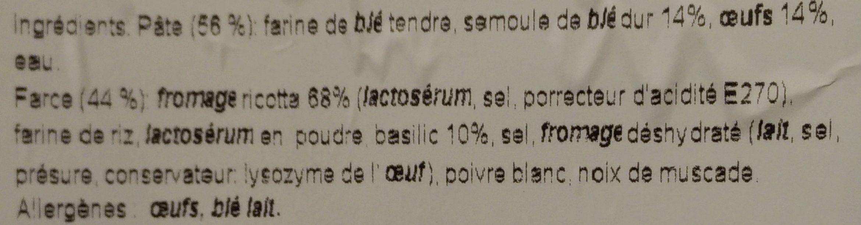 Mezzaluna Ricotta e Basilico - Ingrediënten - fr