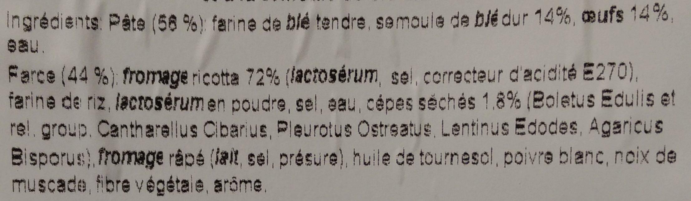 Mezzaluna Ricotta e Fungli Porcini - Ingrediënten - fr