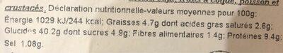 Mezzaluna Ricotta e Fungli Porcini - Voedingswaarden - fr