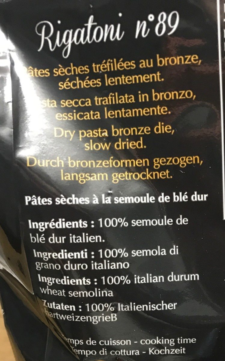 Rigatoni n*89 - Ingrédients