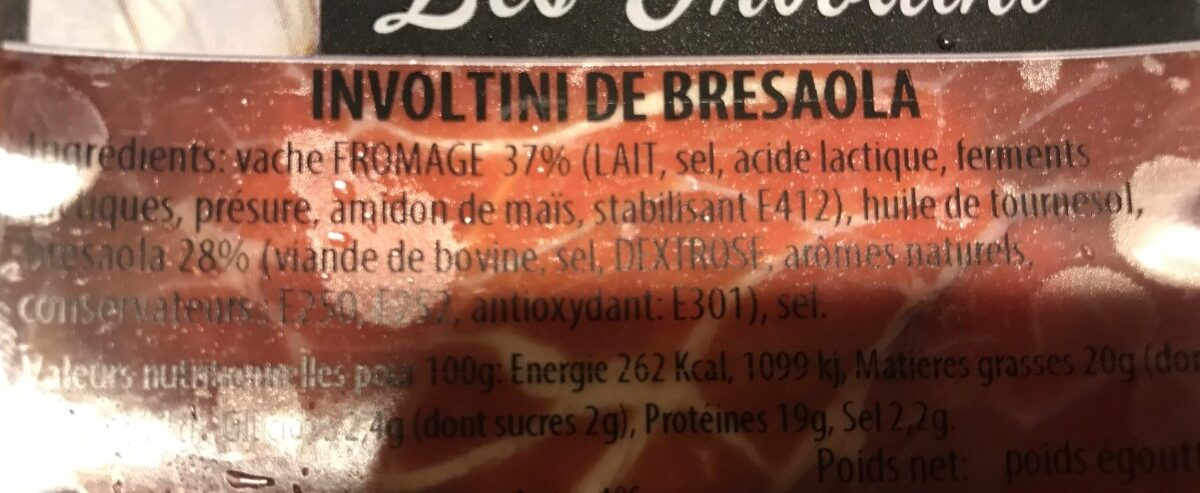 Involtini de bresaola - Ingrédients - fr