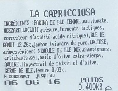 La Capricciosa - Ingrédients - fr