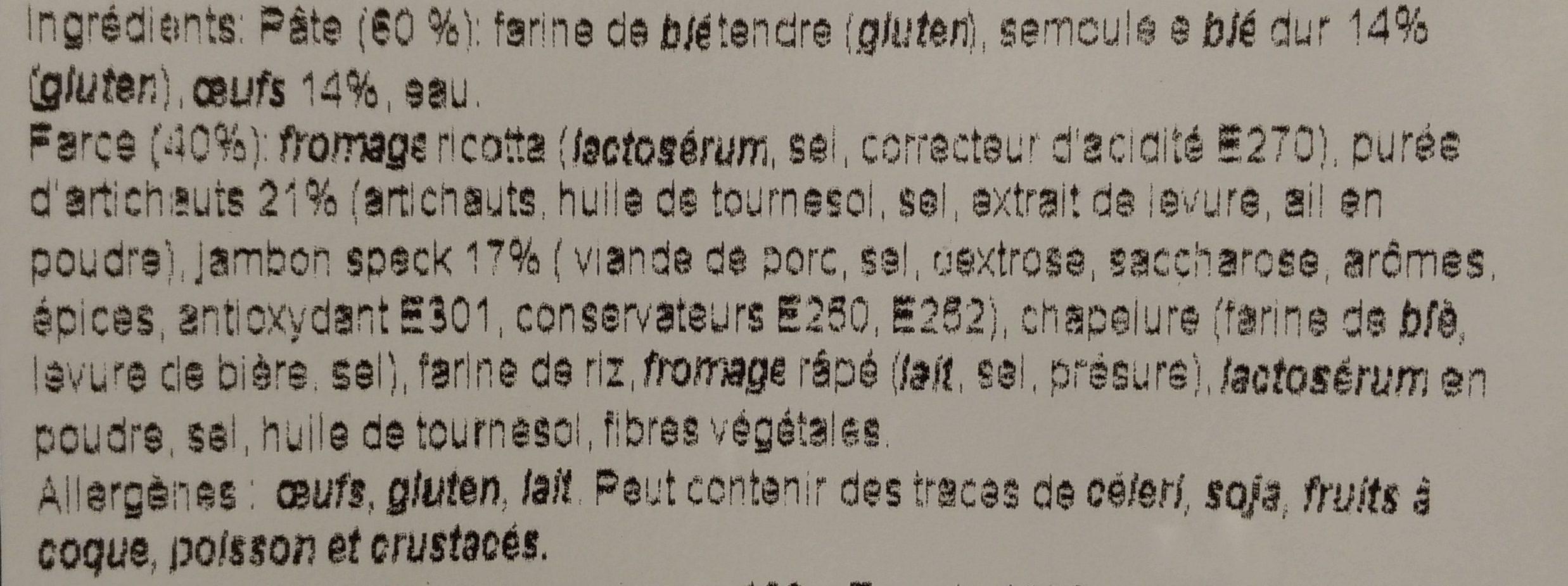 Tortelloni Carciofi e Speck - Ingrediënten - fr