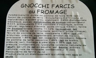 Gnocchi Farcis au fromage - Ingrédients