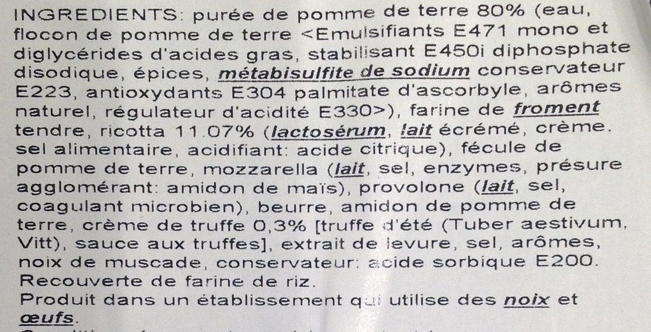Gnocchi Farcis à la Crème de Truffe - Ingrédients