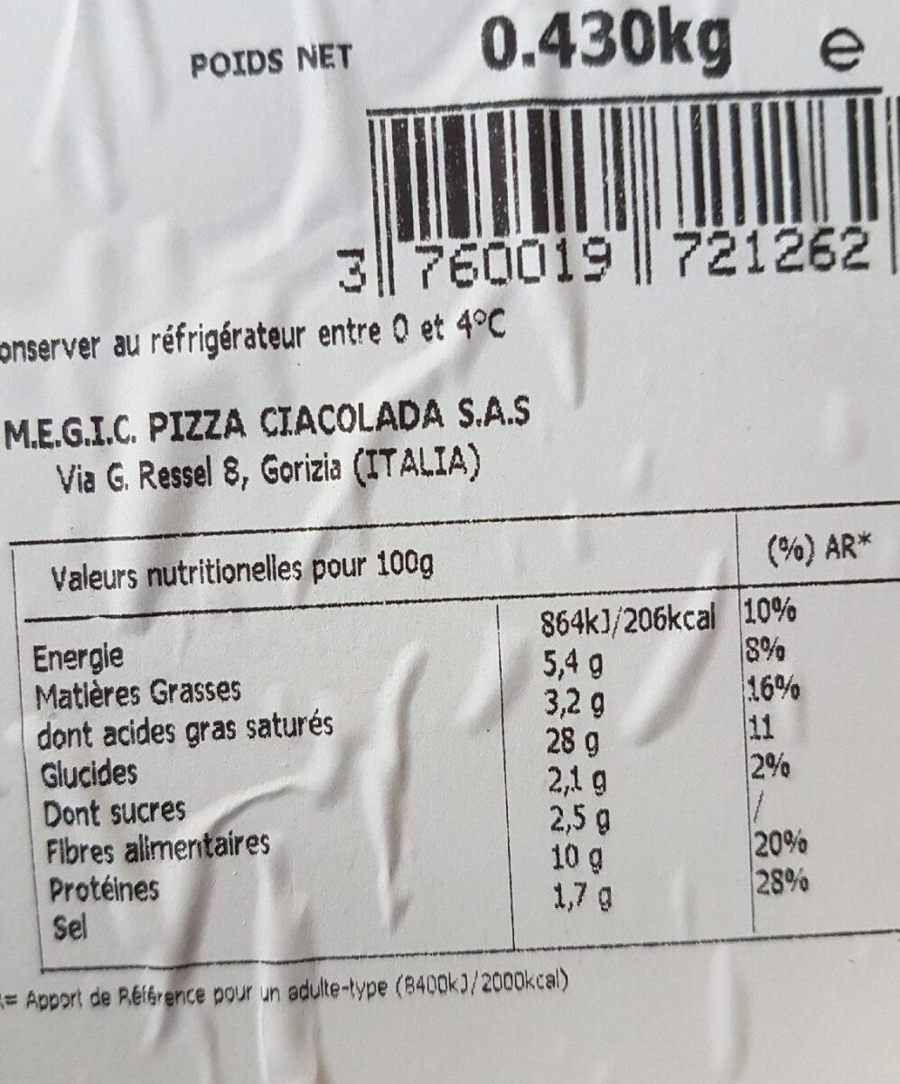 Pizza Reine - Nutrition facts