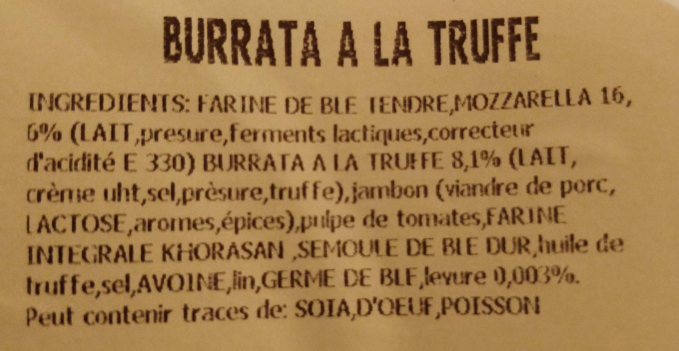 Pizza Burrata à la truffe - Ingredients