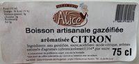 Boisson artisanale gazéifiée aromatisée citron - Ingrediënten