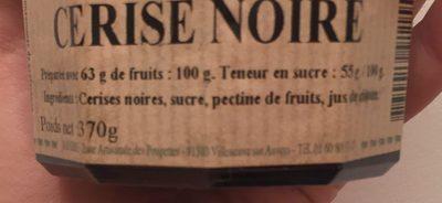 Confiture Cerise noire - Ingredients