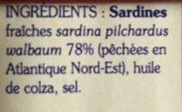 Sardines a l'huile de colza - Ingrédients - fr