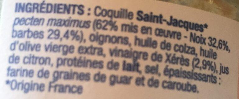 Rillettes de st Jacques - Ingrédients