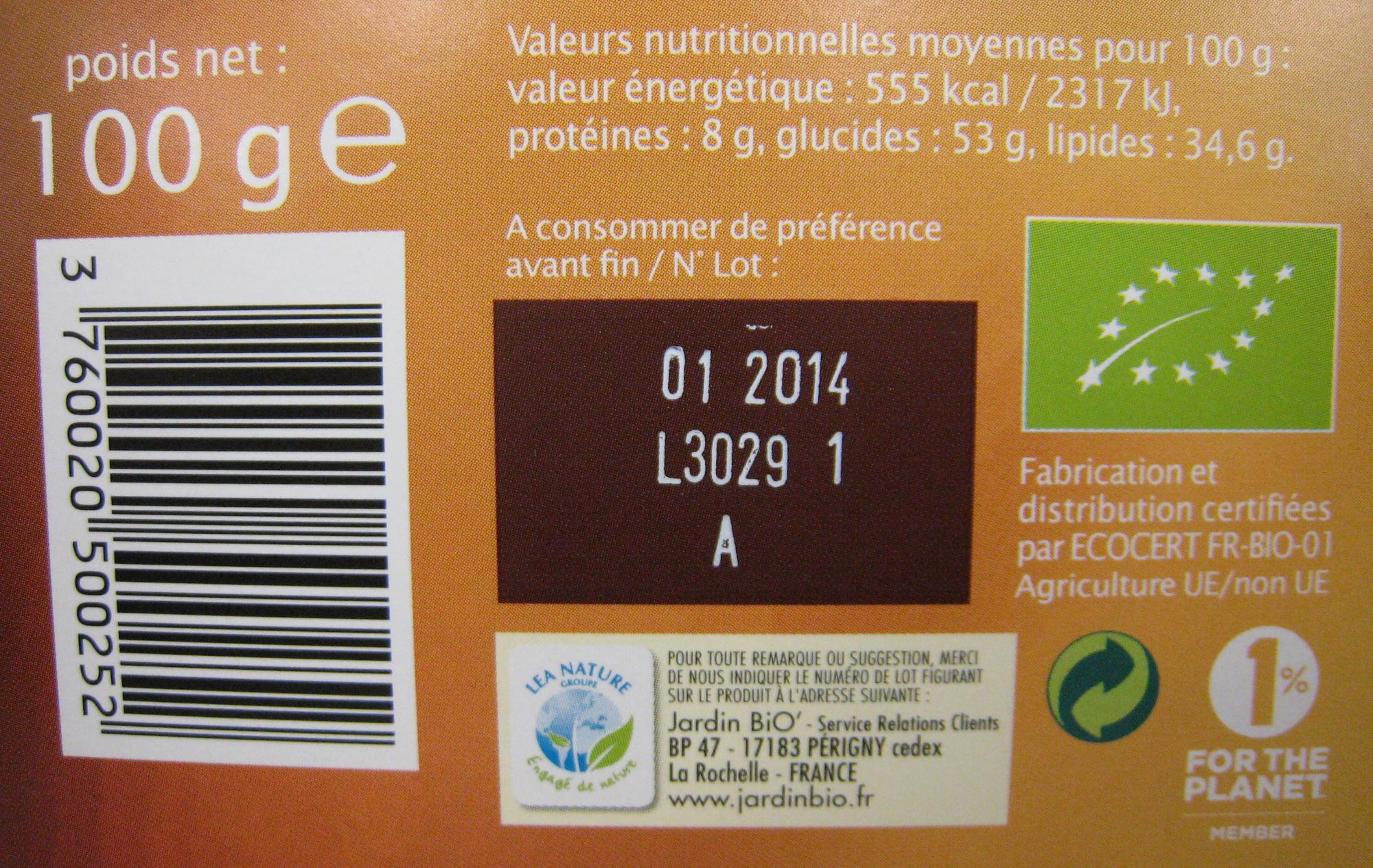Chocolat Lait noisette Jardin Bio 100 g