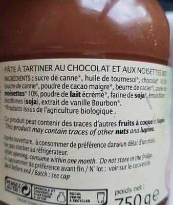Pâte à tartiner chocolat noisette - Ingredients