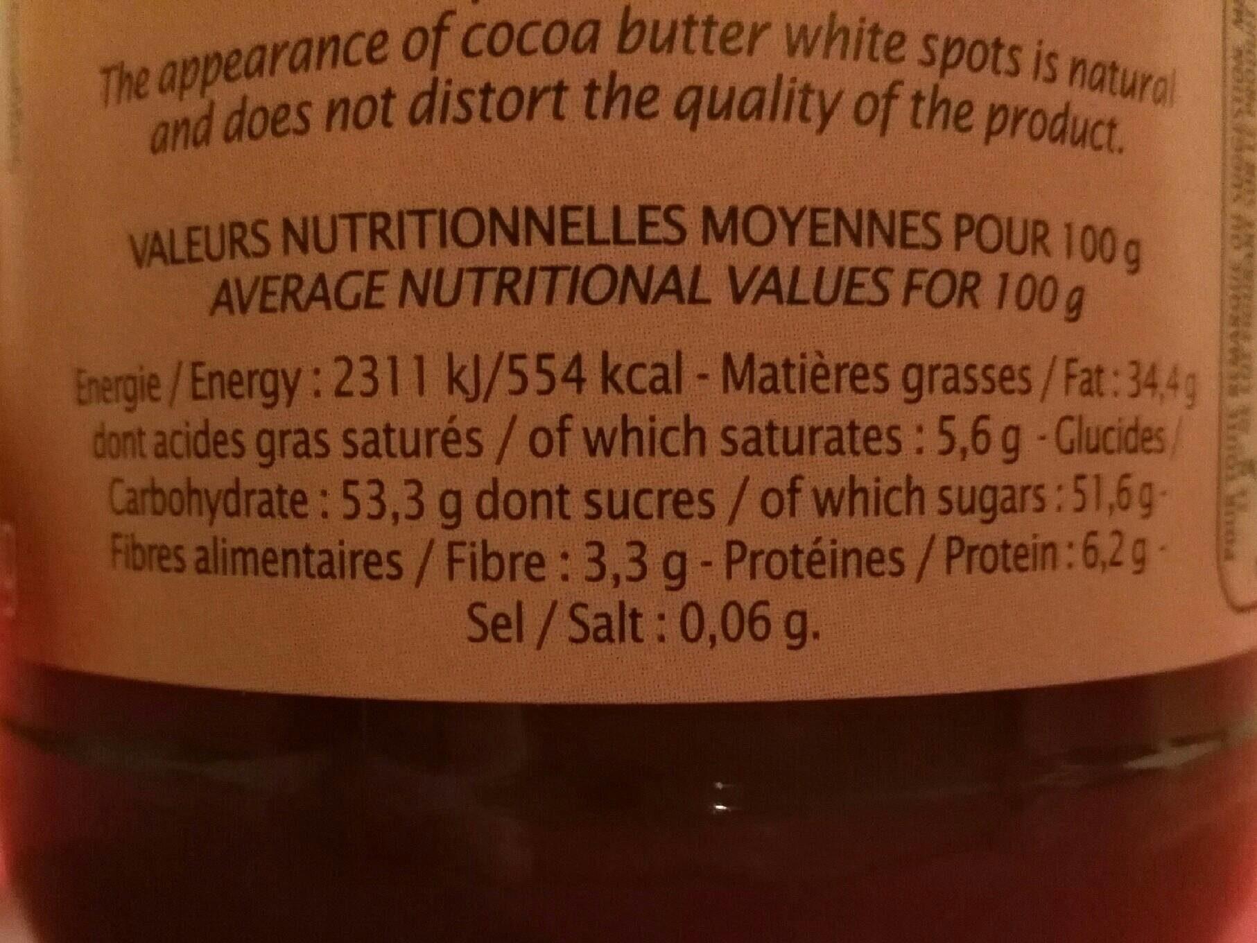Pâte à tartiner chocolat noisette - Nutrition facts