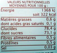 Sirop d'Agave équitable - Información nutricional - fr