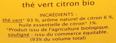 Thé vert citron - Ingredients - fr