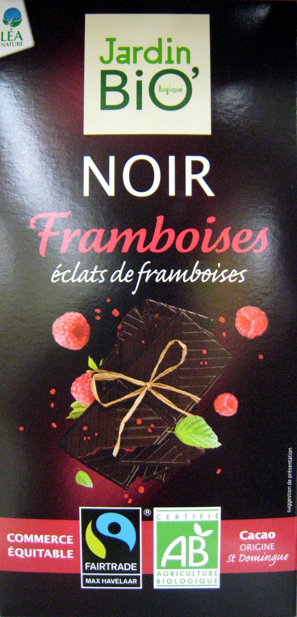 Chocolat noir framboise jardin bio 100 g for Jardin bio