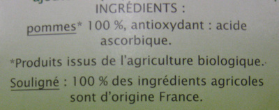 Dessert Biofruits Pomme nature Jardin Bio - Ingredients