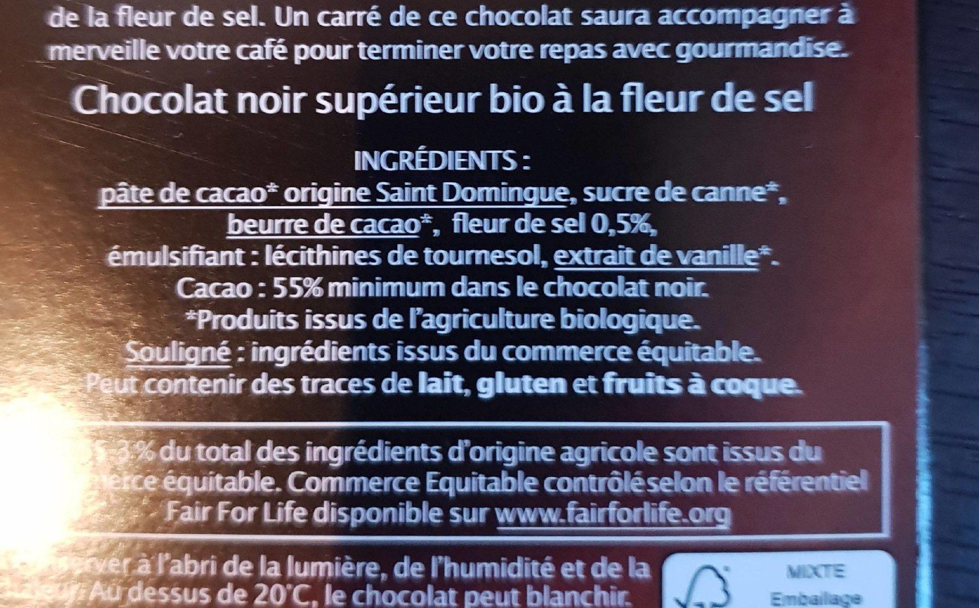 Chocolat Noir pointe de Fleur de sel - Ingredients - fr