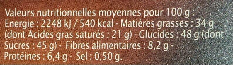 Chocolat Noir pointe de Fleur de sel - Nutrition facts - fr