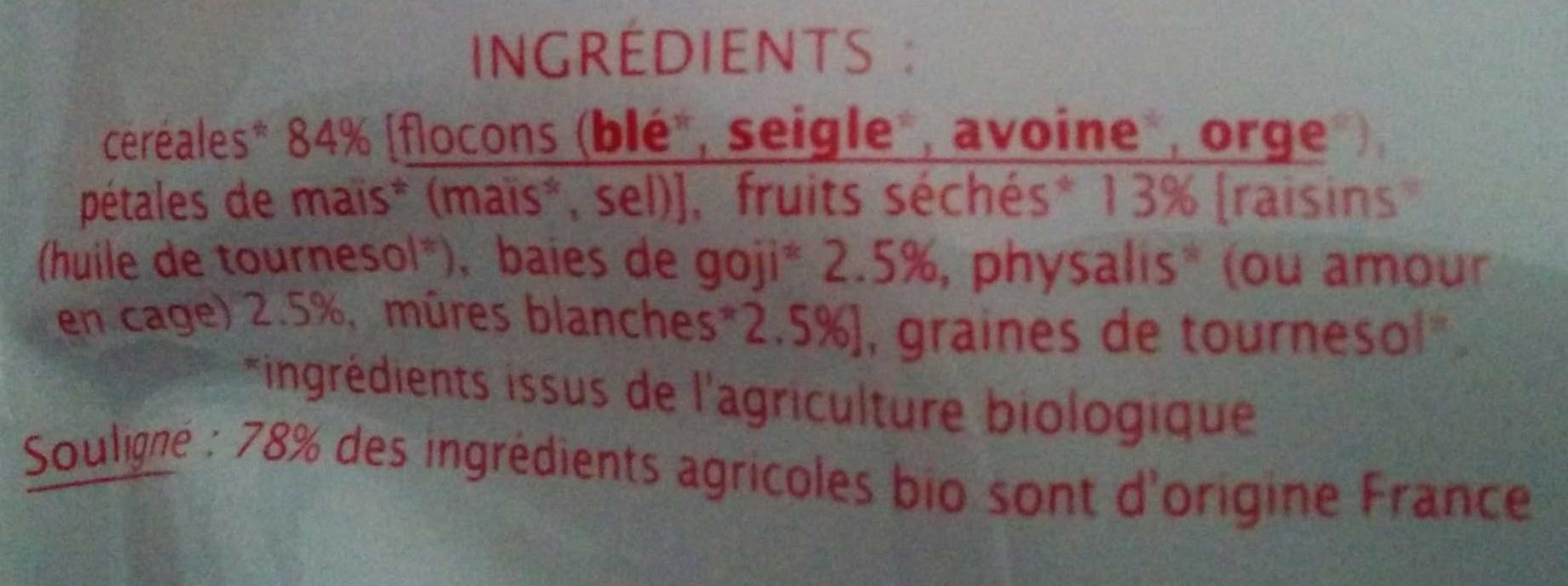 Muesli superfruits sans sucres ajoutés - Ingrédients - fr