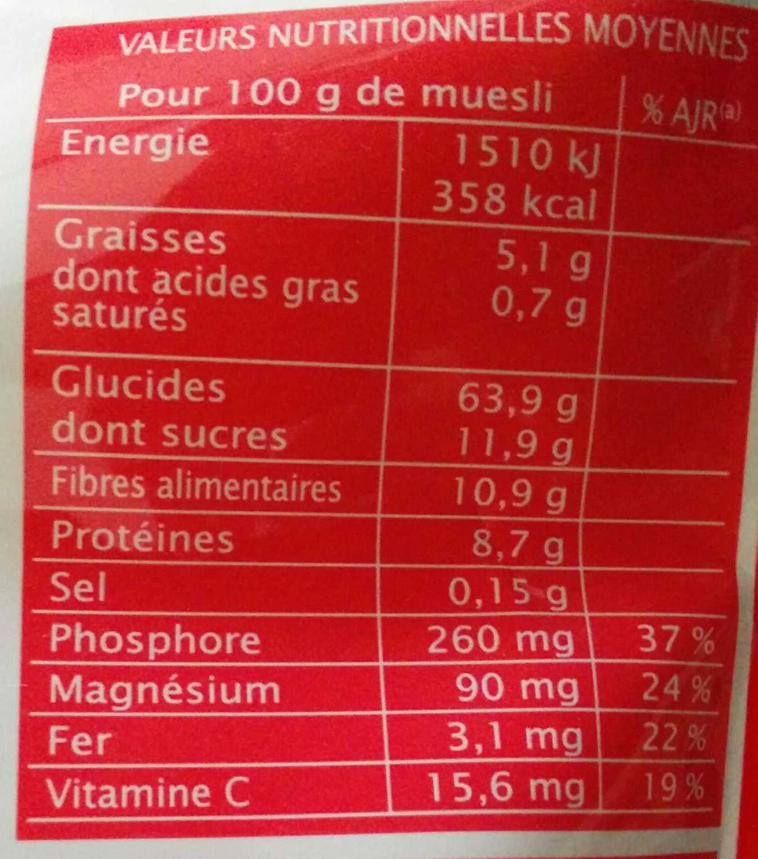 Muesli superfruits sans sucres ajoutés - Informations nutritionnelles - fr