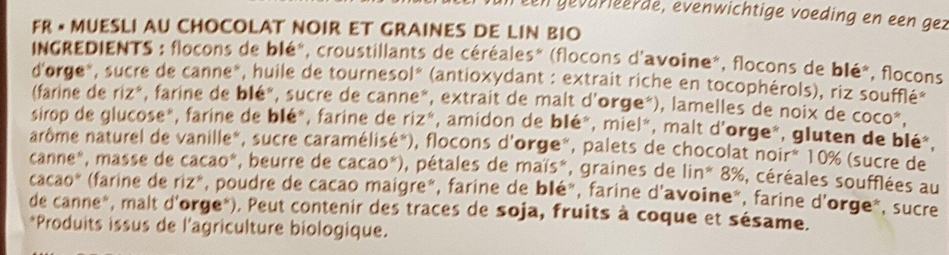 Muesli chocolat noir et graines de lin - Ingrédients - fr