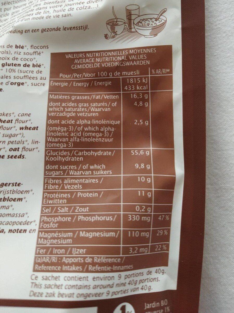 Muesli chocolat noir et graines de lin - Voedingswaarden - fr
