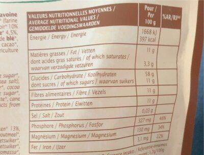 Muesli chocolat noir et graines de lin - Informations nutritionnelles - fr