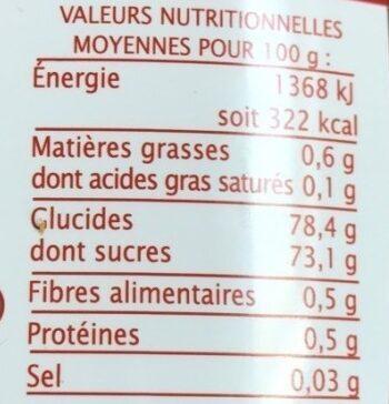 Sirop d'Agave équitable - Valori nutrizionali - fr