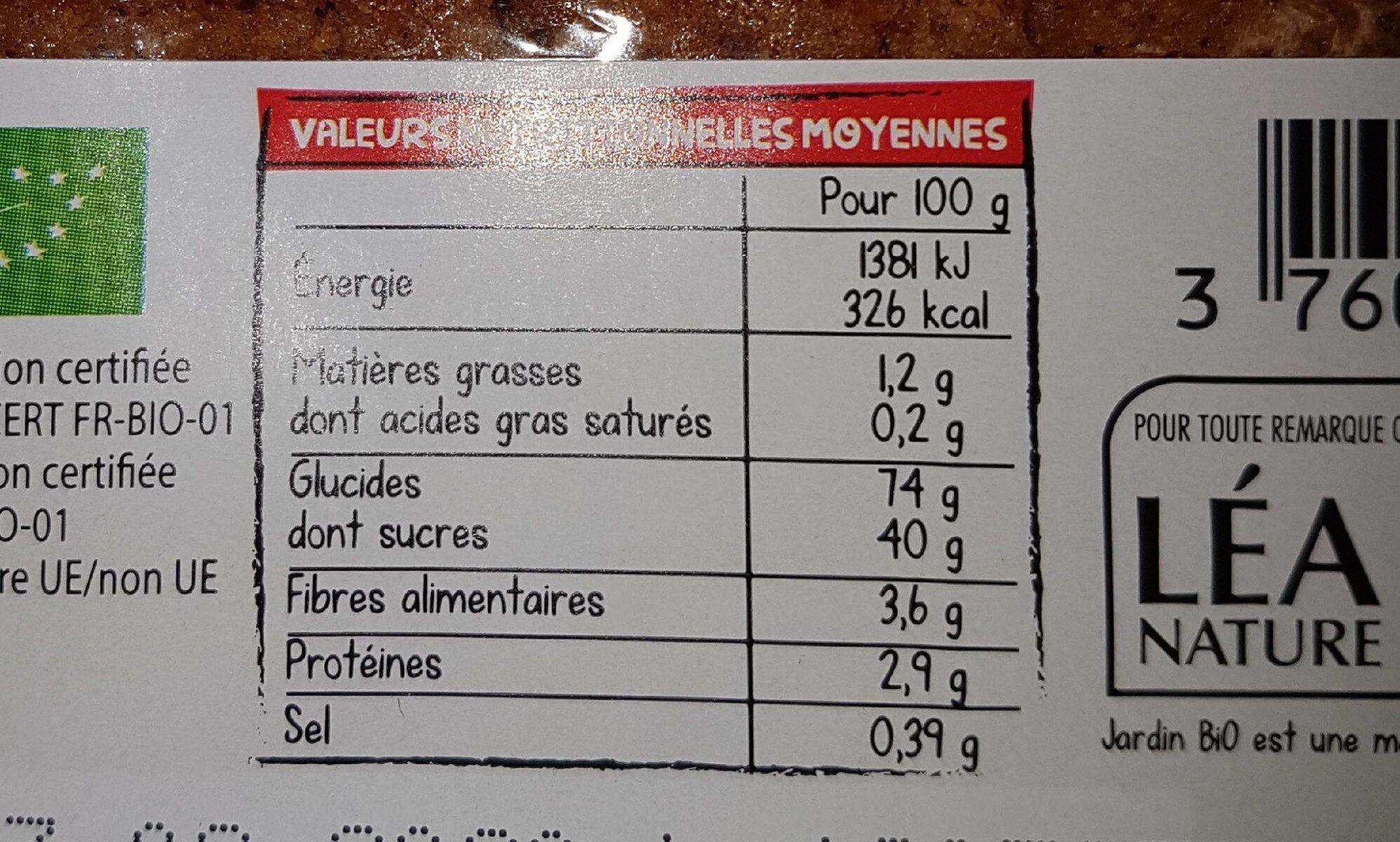pain d épice - Voedingswaarden - fr