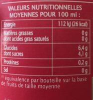 Pur jus de Cranberry - Valori nutrizionali - fr