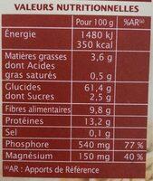 Jardin bio - Petit épeautre décortiqué bio - Informations nutritionnelles - fr