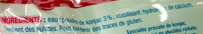 Shiratakis de Konjac - Ingrédients