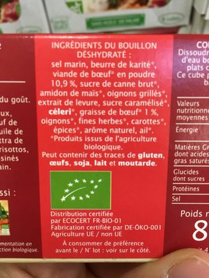 Bouillon cube Boeuf - Ingredients