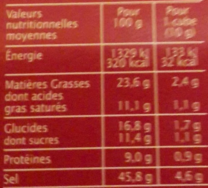Bouillon cube Boeuf - Nutrition facts