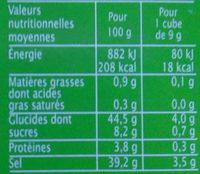 Bouillon cube légumes dégraissé - Informations nutritionnelles - fr