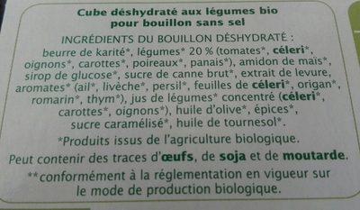 Bouillon cube Légumes sans sel - Ingredients - fr