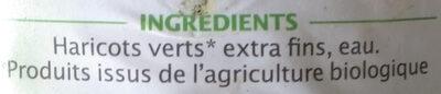 Haricots verts extra-fins sans sel ajouté - 成分 - fr
