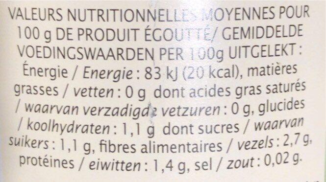 Haricots verts extra-fins sans sel ajouté - 营养成分 - fr