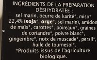 Cube Pour Soupe Miso Jardin Bio - Ingrédients - fr