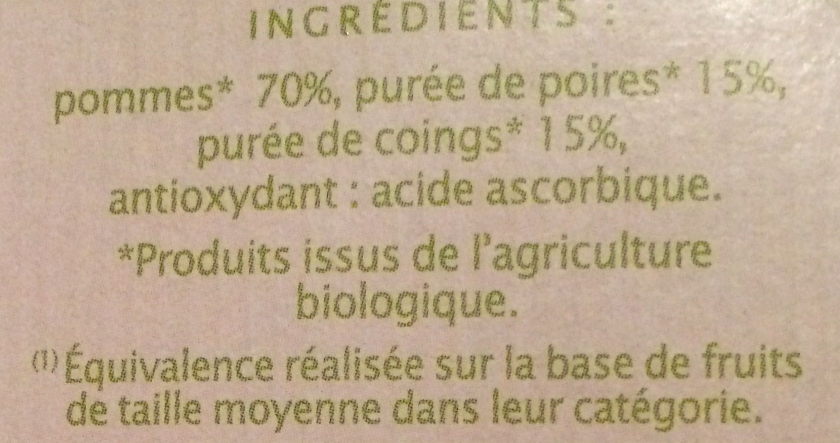 Pomme poire coing - Ingredients - fr