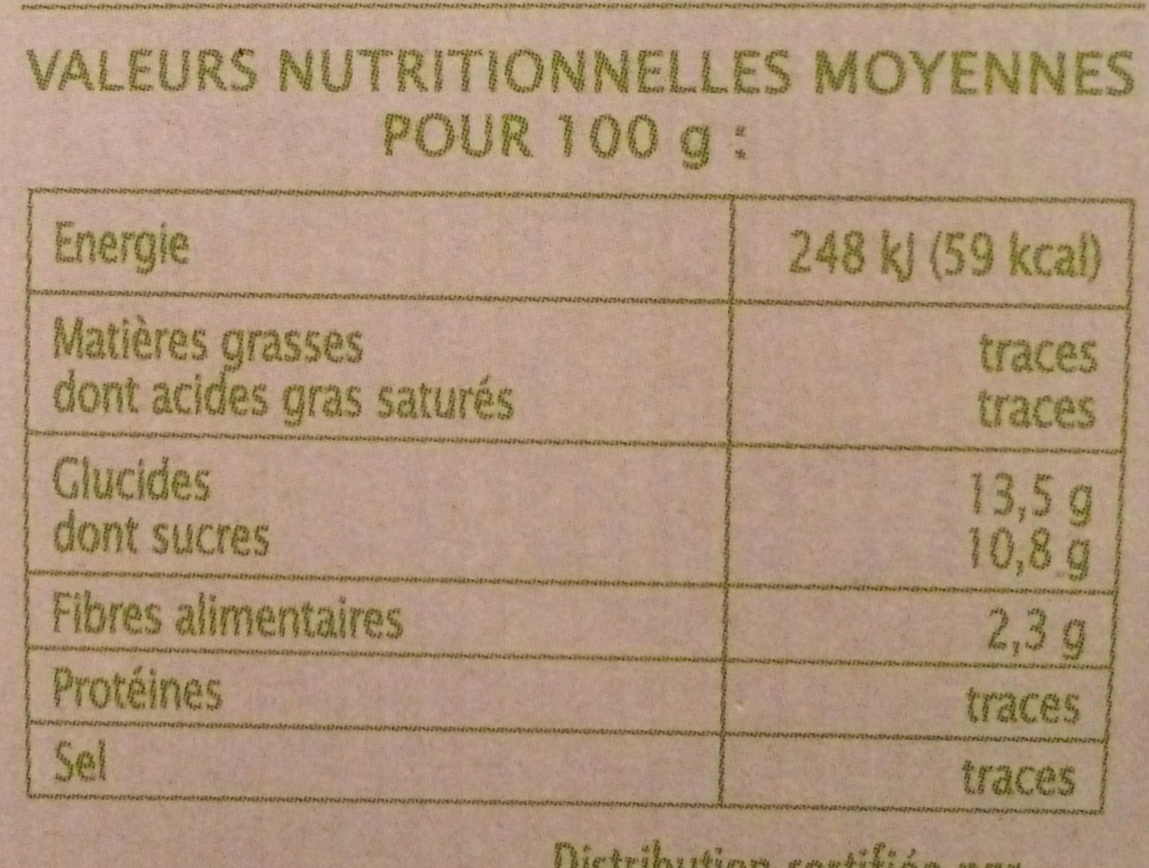 Pomme poire coing - Nutrition facts - fr