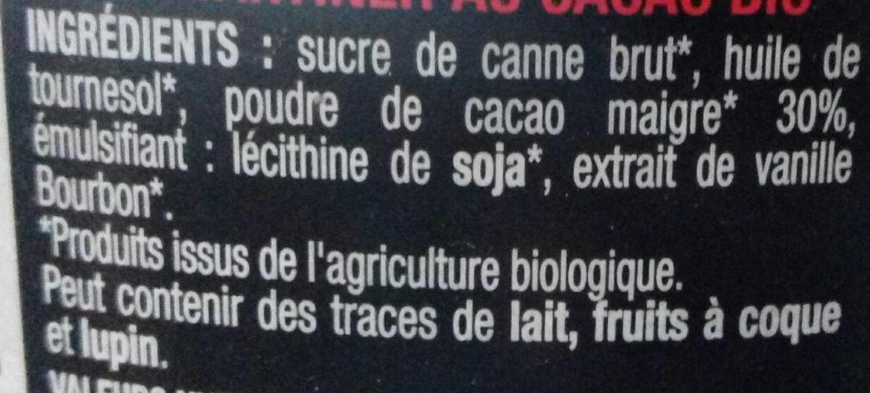 Pâte à Tartiner Noire - Ingredients