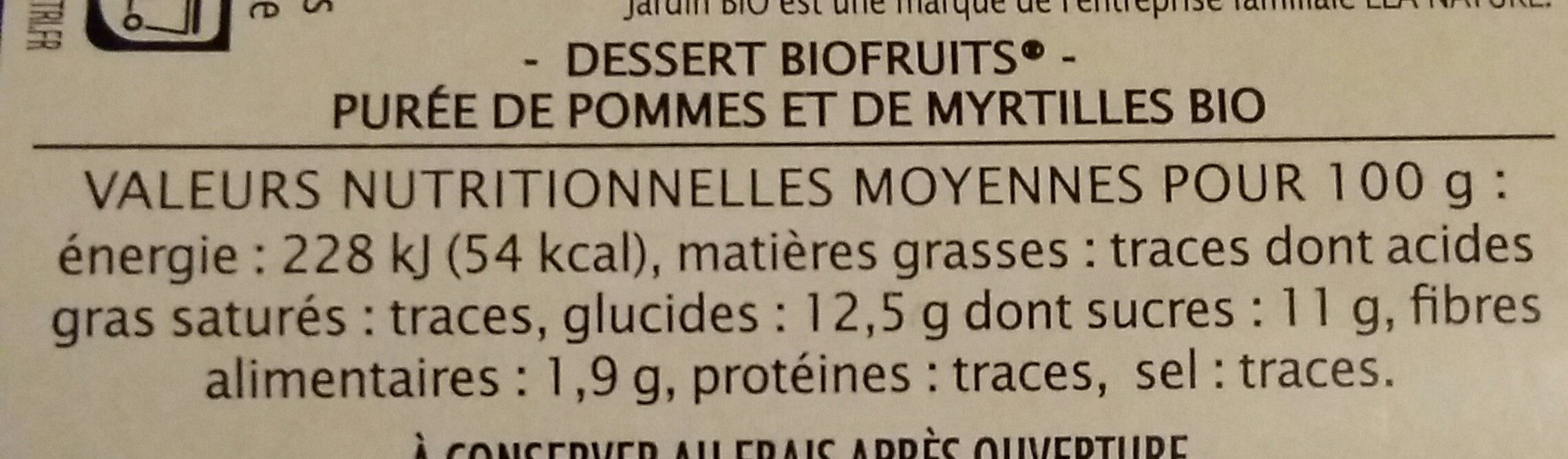 Pomme myrtille - Voedigswaarden